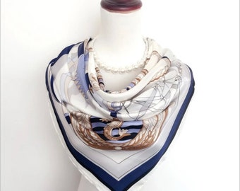 Silk Scarf , Square Neck Scarf , Women Silk Scarf , Gifts for Her - White Base Ship Print Scarf