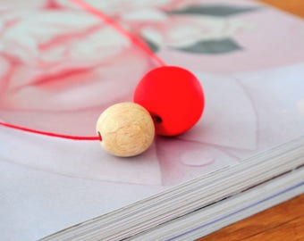 The MOON COLLECTION - Handmade Polymer Clay Necklace - Red Cord (SML)