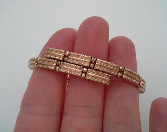 Antique Vintage Victorian Edwardian Gold Filled Small Size Bypass Repousse Link Bangle Bracelet, Vintage Antique Gold Filled Coil Bracelet