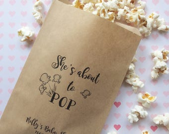 50 She's about to POP - Baby Shower Favors - Popcorn Bags - Set of 50