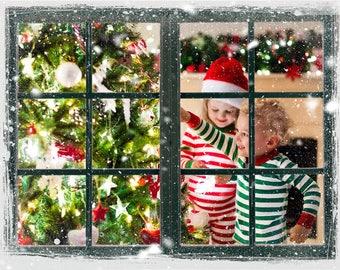 Snowy Window Overlay, PNG, Photoshop overlay, fantasy, magic, clip art