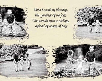 sibling quote storyboard embellished 10x20 photographer collage template beige INSTANT DOWNLOAD