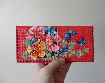 VINTAGE handmade cross stitch FLORAL and butterflies WALLET