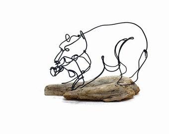 Bear with Fish Wire Sculpture, Bear Art, Bear Wire Sculpture, Minimal Sculpture, 593814850