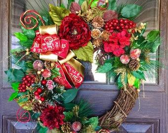 Etsy Door Wreath   Christmas Wreath   Grapevine Wreath   Christmas Decorations   Door Wreaths   Wreaths on Etsy   Etsy Wreaths