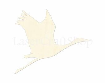 "2"" - 34"" Crane Wooden Cutout Shape, Silhouette, Gift Tags Ornaments Laser Cut Birch Wood   #1037"