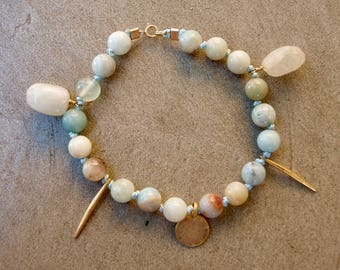 Beautiful amazonite, aquamarine and gold charm bracelet