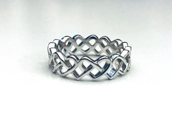 Endless Heart Knot Ring, Celtic Knot Ring, Endless Heart Ring, Sterling Silver Ring, Heart Ring, Gifts for Her