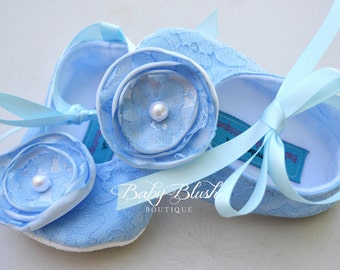 Light Blue Lace Vintage Baby Shoes Ballerina Slippers