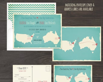 Destination bilingual wedding invitation Map Style Invitation Two Countries, Two Hearts, One Big Celebration Mab Lib RSVP DEPOSIT Payment