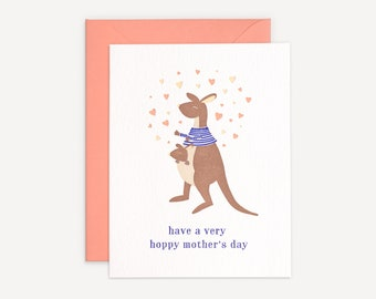 Mother's Day Letterpress Card // Kangaroo and Baby // Hoppy Mother's Day