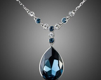 Blue Water Crystal Necklace