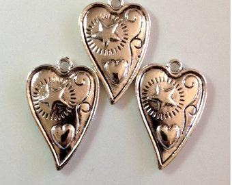 3 Antique Heart / Star Pendant - 28mm x 18mm - SC24#MW