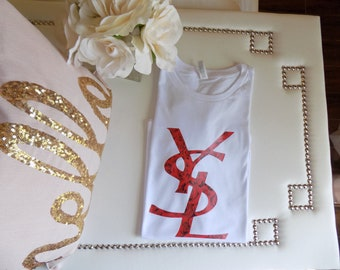 YSL rose red t-shirt