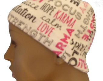 Ladies White Inspirational Soft Cotton Sleep Cap Cancer Chemo Scarf Liner Hat