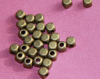100 pcs of antique brass  square cube beads 4mm