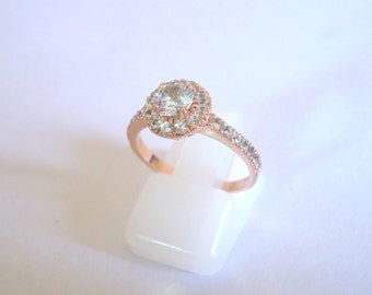 Handmade rose gold white sapphire gold ring inlaid with 1.5 mm white sapphires SKU: P-047