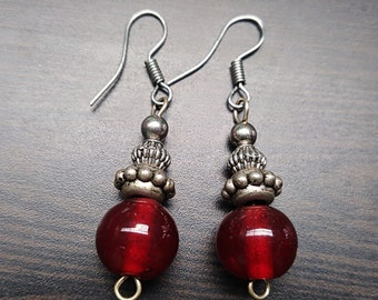 Red with Silver Accent Earrings