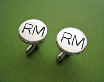 Personalized Cuff Links - Initials - Hand stamped aluminum cuff links