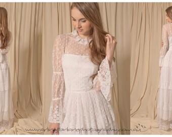 1970s sheers wedding gown