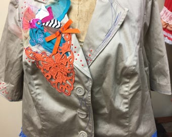Tan Blouse with Embellishments