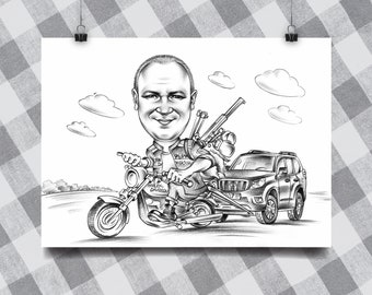 Pencil caricature for 1 person, сaricature,  black and white theme of the full body on transport.
