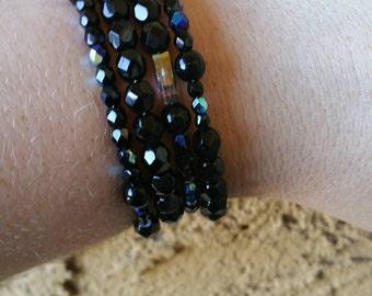 0097-Black Crystals Memory Wire Bracelet