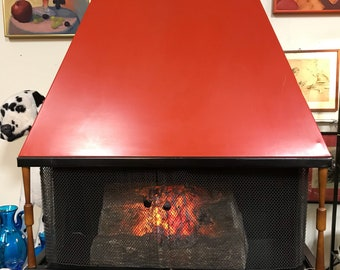 Vintage Mid Century Fireplace-Electric Heater-Poppy Red Made By Royal-DeSoto