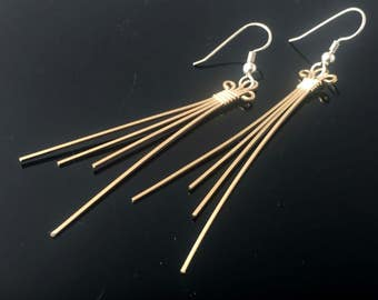 Gold Earrings With Silver Accents Wire Wrapped Drop and Dangle Earrings Hand Made Precious Metal Earrings