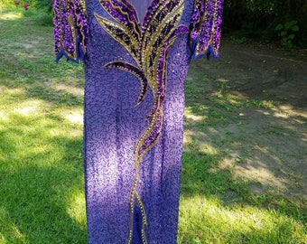 1990's Prom Dress Fully Beaded Purple and Gold -Alyce Designs