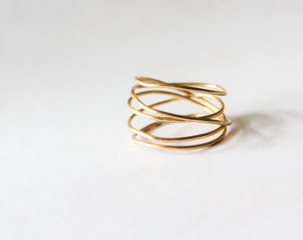 Wrap Ring, Gold Wrap Ring, Thin Gold Ring, Silver Wrap Ring, Stacking Ring, Gold Stackable Ring, Gold Ring, Minimalist Ring, Minimalist