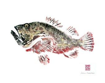 8 x 10 Hawaiian Fish Print in Black Mat Scorpionfish Nohu Gyotaku