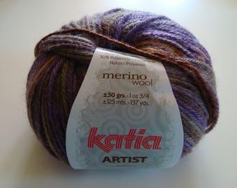 Artist from KATIA - 3, 4-5 needles - Brown purple khaki - Merino Wool 50g ball