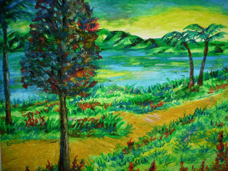 Oil Pastel Landscape Drawing Original 14x17 On Bristol Board