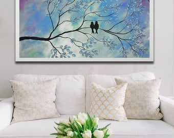 Abstract Birds Giclee, Birds print, colorful print, art print, abstract blue print, love birds print,print on canvas, blue birds giclee