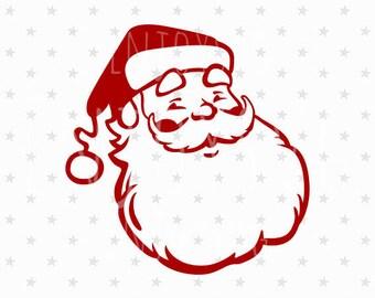 Santa svg Santa SVG file Santa svg Vintage Santa svg Santa face svg Christmas svg Santa Claus svg cut file Christmas svg design Silhouette