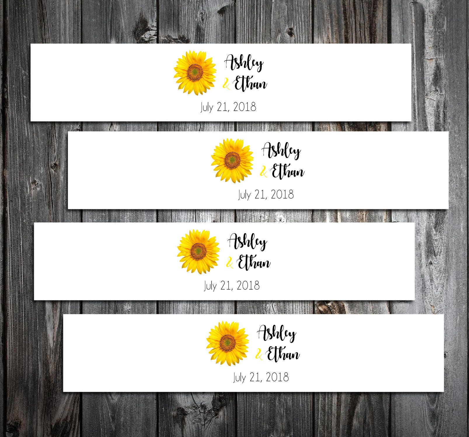 100 Sunflower Wedding Invitation Belly Bands Wraps. Includes ...