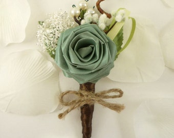 Origami Rose Boutonniere - Ecology Style, Groom Boutonniere, Rustic Boutonniere, Woodland Wedding Boutonniere, Country wedding