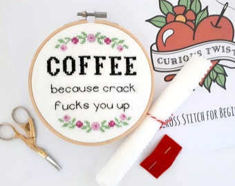Coffee cross stitch kit, handmade wall art, funny wall hanging, coffee lovers gift idea, DIY craft set, adults arts and crafts, mature