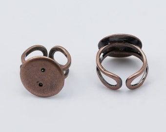 Adjustable Finger Ring Base Bezel Ring Blank with 16 mm Flat Pad Brass Unique Jewelry Wholesale ID 8130
