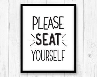 Please seat yourself print, Bathroom wall decor, Printable bathroom sign svg, Funny Bathroom Signs, Cricut silhouette svg dxf cut, Washroom