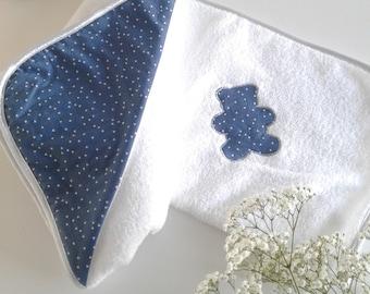 Printed blue trendy triangles, silver bias fabric, baby bath Cape