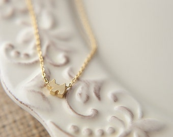 Tiny Scottish Terrier Dog Necklace, Available in Silver, Gold, and Rose Gold