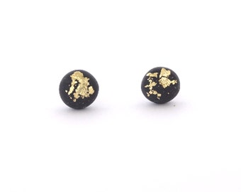 Black Gold Flake Earring Stud