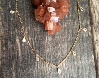 The Eos Choker,Dainty Gold Choker,Gold Choker,Crystal Choker,Crystal Choker Gold,Gold Crystal Necklace,Gold Jewelry,Dainty Gemstone Choker