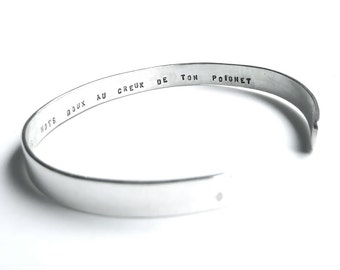 Sweet message, custom silver, adjustable cuff bracelet