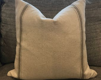 Grain Sack Farmhouse Down Feather Pillow