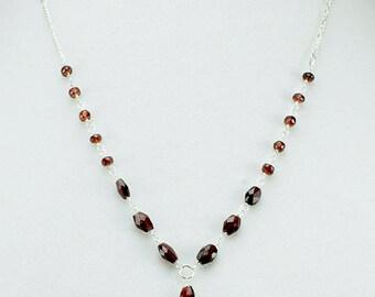 Garnet Necklace, Garnet Drop Pendant, Y Style Necklace, Garnet Sterling Necklace, January Birthstone