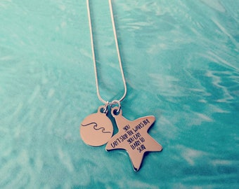 You Can't Stop the Waves but you can Learn to Surf Silver Necklace