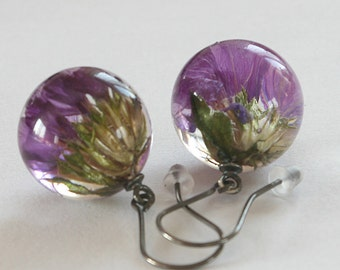 Limonium- flower earrings with oxidized silver